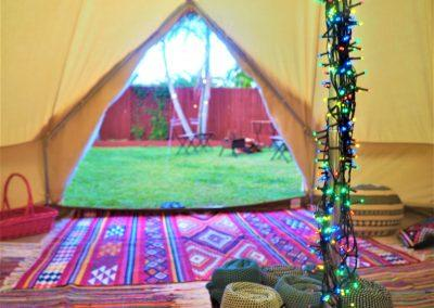 Tentz - marquee tent with string lights inside